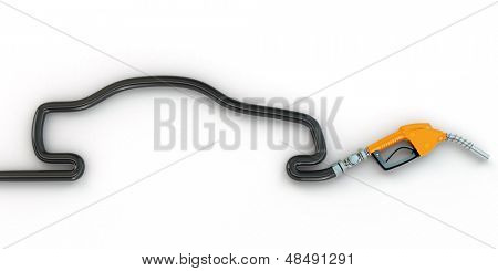 Gas pump nozzle and a silhoutte of car.3d