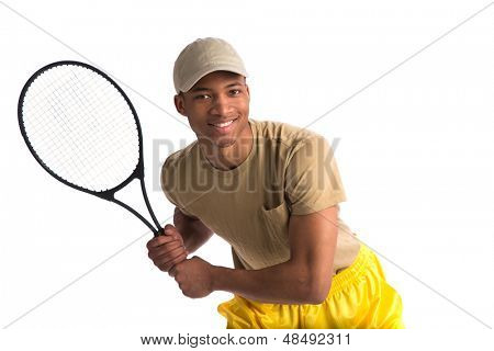 Natural Looking African American College Student Holding Tennis Racket on Isolated White Background