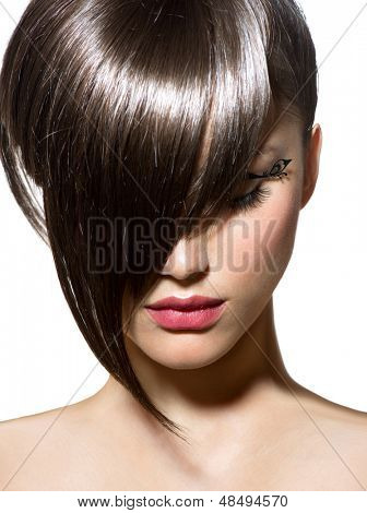 Fashion Haircut. Hairstyle. Stylish Fringe. Short Hair Style
