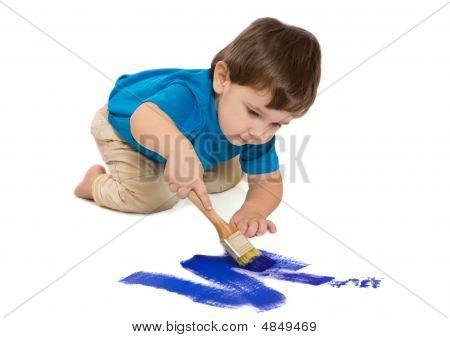 Boy Draws Dark Blue A Paint