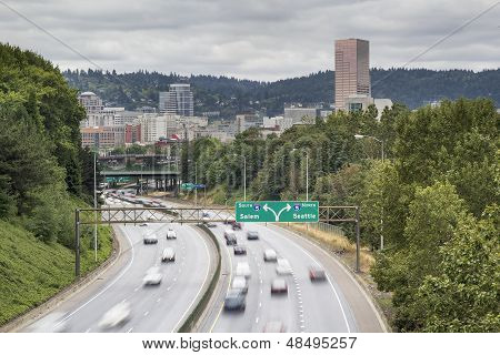 I-84 To I-5 Interstate Freeway In Portland Oregon