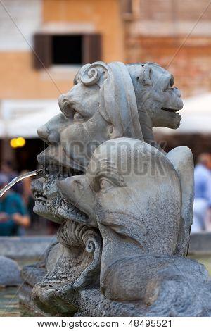 Sculptural detail of the baroque fountain in the Piazza della Rotonda Rome Italy
