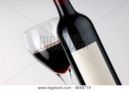 Wine Bottle and Glass - Blank Label