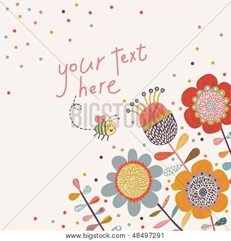 Bright floral card in vector. Cartoon bee on flowers in bright colors