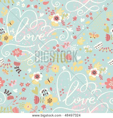 Bright romantic seamless pattern in modern stylish colors. Seamless pattern can be used for wallpaper, web page backgrounds, surface textures. Floral background - ideal for wedding design