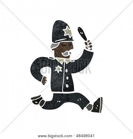 Retro cartoon politieagent geven chase