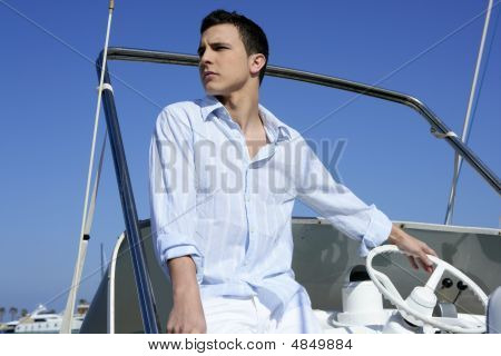 Handsome Young Man On Boat, Summer Vacation