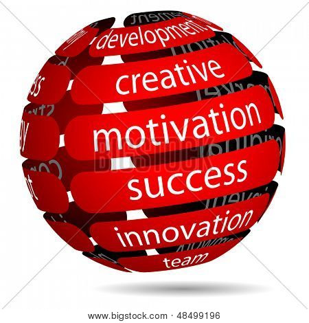 Illustration Red Business Ball with Inscription on White Background. Vector.