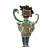 picture of strangling  - retro cartoon snake strangling man - JPG