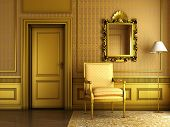 stock photo of pompous  - 3d render of Interior scene of luxury palace living - JPG