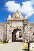Entrabce gate of La Mola Fortress of Isabel II at Menorca island, Spain. It was built between 1850 and 1875 at the mouth of Mahon port. poster