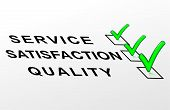 stock photo of quiz  - Label text 3d quality satisfaction and service - JPG