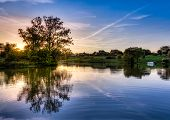 picture of bluegrass  - Sunset scene on a small lake in Central Kentucky - JPG