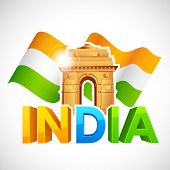 image of ashok  - illustration of India Gate with Tricolor Flag - JPG