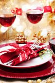 stock photo of christmas dinner  - Decorated Christmas Dinner Table with Red Wine - JPG