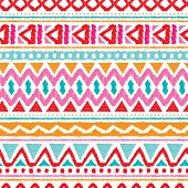 pic of aztec  - Seamless trend summer color aztec vintage folklore background pattern in vector - JPG