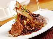 picture of lamb chops  - Lamb cutlets with rosemary balsamic spanich onions and mash - JPG