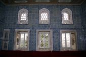 image of eunuch  - Room with blue tiles inside Harem in Topkapi Istanbul - JPG
