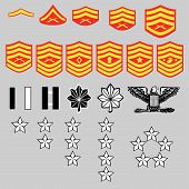 stock photo of united states marine corps  - US Marine Corps rank insignia for officers and enlisted in vector format - JPG