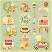 image of frozen food  - Ice Cream Dessert Vintage Labels in Retro Style  - JPG