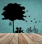 stock photo of boy girl shadow  - Vector Decorative Wall Stickers For Your House - JPG