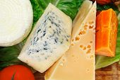 picture of brie cheese  - roquefort with cheddar - JPG