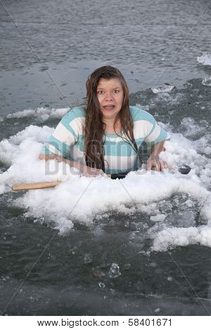 Girl In Ice Hole Scared