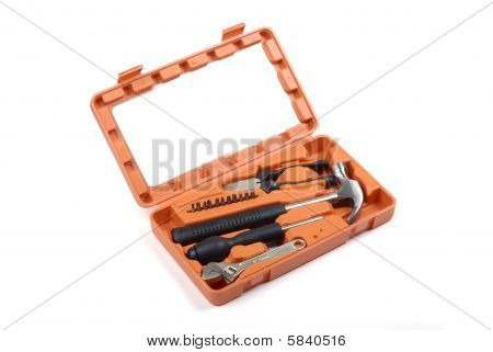 Orange Toolbox With Set Of Instruments Isolated On White Background.