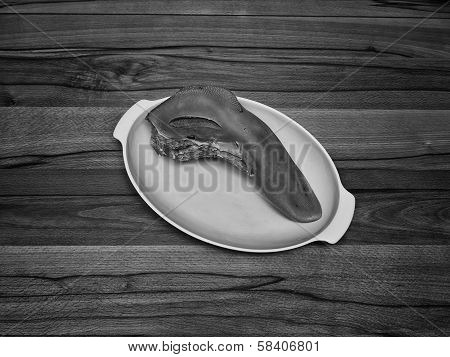 Tongue On A Dish In Black And White