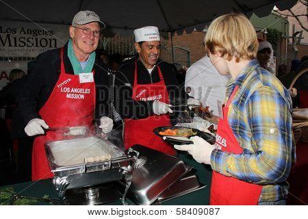 Harrison Ford, Antonio Villaraigosa at the Los Angeles Mission Christmas Eve For The Homeless, Los Angeles Mission, Los Angeles, CA 12-24-12