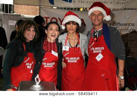 Kate Linder, Mirelly Taylor, Lisa Rinna, Harry Hamlin at the Los Angeles Mission Christmas Eve For The Homeless, Los Angeles Mission, Los Angeles, CA 12-24-12