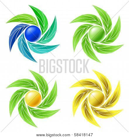 Set of leaves and spheres as symbol for businesses.???