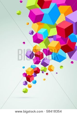 Banner With Colorful Cubes