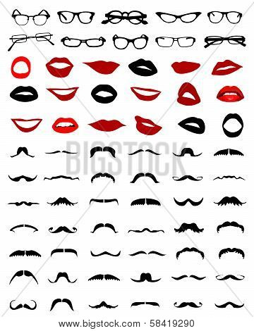 mustaches, glasses and lips