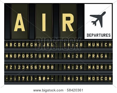 Airport timetable letters