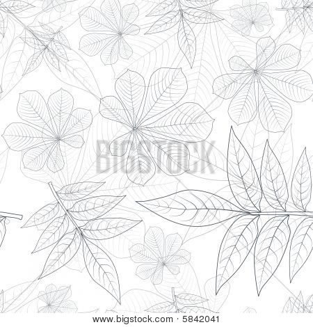Leafs Silhouette Seamless Pattern