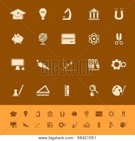 Education Color Icons On Orange Background