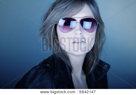 Stunning Brunette Teenager In Aviator Sunglasses