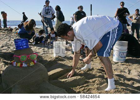 SANTA MONICA, CA - DECEMBER 02: Jordan Farmar at Kohl's Holiday Sandman Building Competition on December 02, 2006 at Santa Monica Beach, Santa Monica, CA.