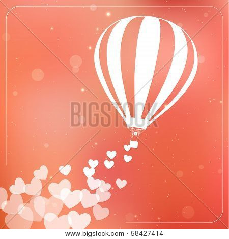 Hot air balloon with flying hearts. Romantic silhouette card