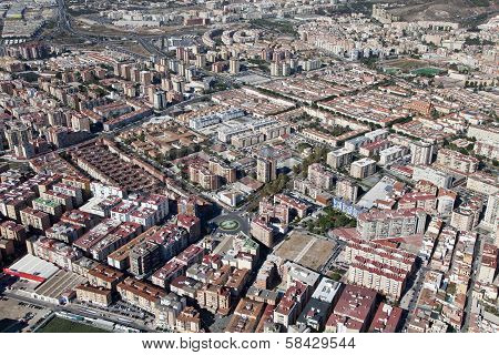 Air View Of A Residential Area In Malaga.