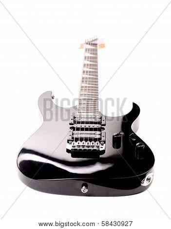 Beautiful black electric guitar.