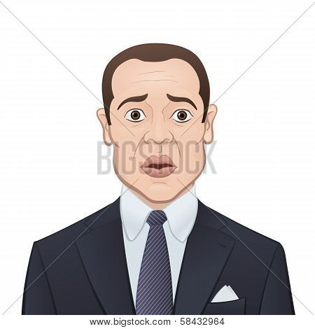 Businessman in a Suit and Tie on White Background