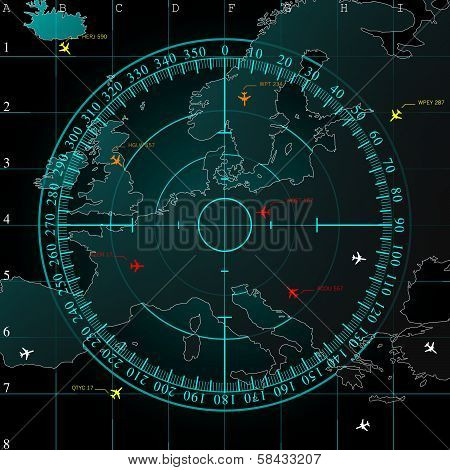 Blue radar screen over Europe