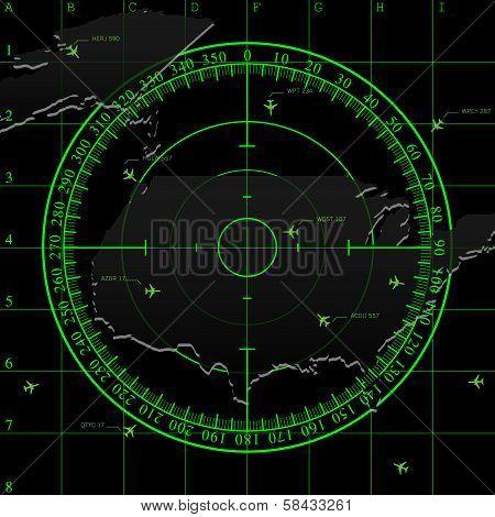 Green radar screen over USA