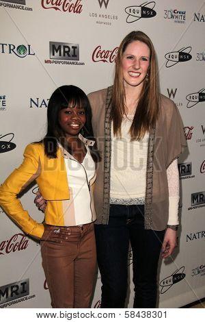 Gabrielle Douglas, Missy Franklin at the Gold Meets Golden Event, Equinox West LA, Los Angeles, CA 01-12-13