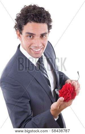 Seducer Smiling  With Rose