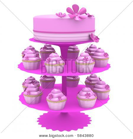 Pink Cake And Cupcakes On Stand - 3D Computer Generated