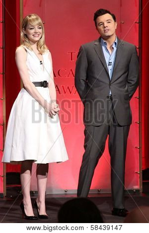 Emma Stone and Seth McFarlane at the 85th Academy Awards Nominations Announcement, AMPAS Samuel Goldwyn Theater, Beverly Hills, CA 01-10-13