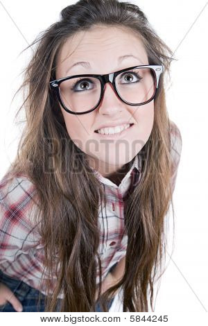 Cute Brunette Teenage Geek